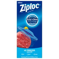 Ziploc Brand Freezer Gallon Bags with Grip 'n Seal Technology, 40 Count