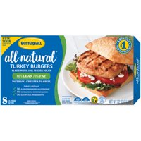 Butterball All Natural Frozen White Turkey Burgers, 1/4 lb. Patties, 2 lb. Package