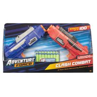 Adventure Force Clash Combat Dart Blasters, Red and Blue, Pack of 2