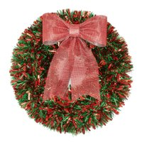 Holiday Time Green/Red Tinsel Wreath, 20