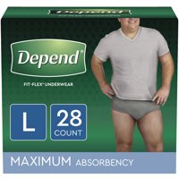 Depend FIT-FLEX Incontinence Underwear for Men, Maximum Absorbency, L, Grey, 28 Count