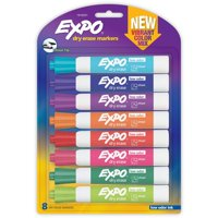 EXPO Low Odor Dry Erase Markers, Chisel Tip, Vibrant Colors, 8pk