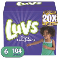 Luvs Triple Leakguards Extra Absorbent Diapers, Size 6, 104 Ct
