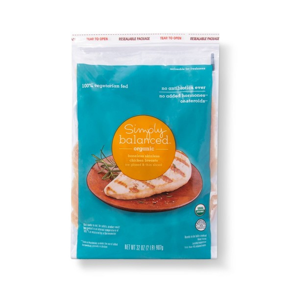 All Natural Boneless Skinless Frozen Chicken Breasts - 2lbs - Simply Balanced™