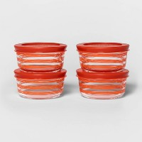 1 Cup 4pk Round Red Decorative Food Storage Container Set - Room Essentials™