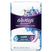 Always Discreet Incontinence Pads for Women, Heavy Absorbency, Long Length, 39 Count