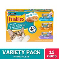 (12 Pack) Friskies Gravy Wet Cat Food Variety Pack, Tasty Treasures Prime Filets, 5.5 oz. Cans