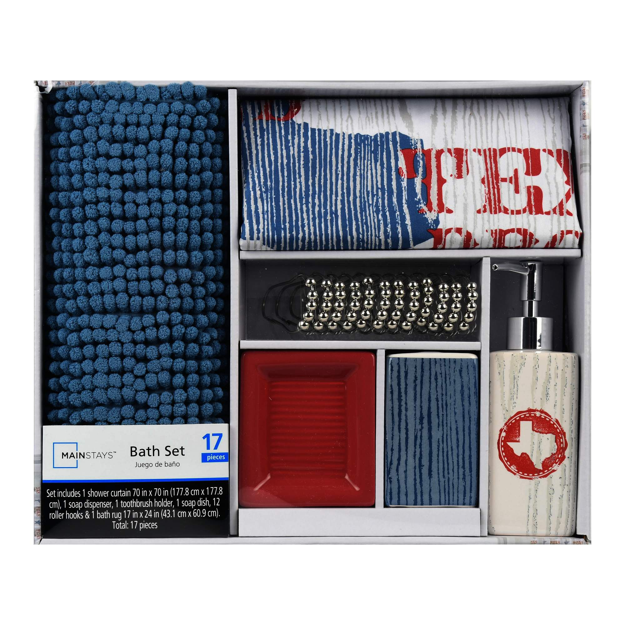 Mainstays 17-Piece Bathroom Set, Texan Born