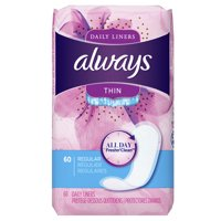 Always Thin Daily Liners, Regular, Unscented, 60 Count