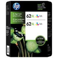 HP 62XL High Yield Tri-color Ink Cartridges, 2 ct