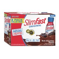 SlimFast Original Ready to Drink Meal Replacement Shakes, Rich Chocolate Royale, 11 fl. oz., Pack of 8
