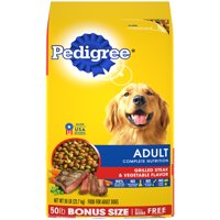PEDIGREE Complete Nutrition Adult Dry Dog Food Grilled Steak & Vegetable Flavor, 50 lb. Bag