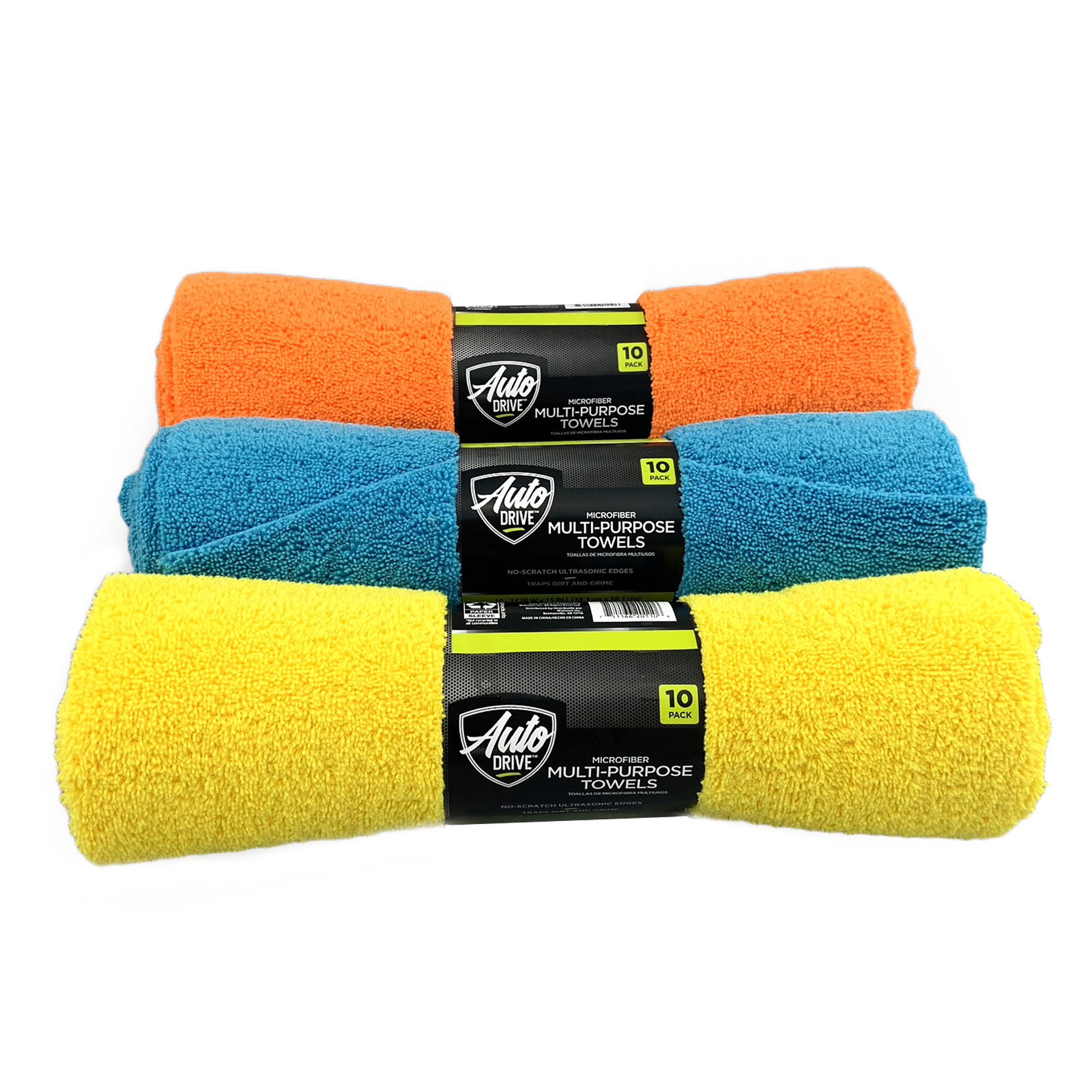 Auto Drive Car Wash Microfiber Edge Towel,10 Count,Yellow