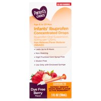 Parent's Infants' Concentrated Drops, Ibuprofen Oral Suspension, 50 mg per 1.25 mL, Pain Reliever and Fever Reducer, Dye-Free,1 fl oz