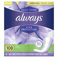 Always Xtra Protection Long Daily Liners, Unscented 108 Ct