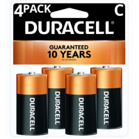 Duracell 1.5V Coppertop Alkaline C Batteries 4 Pack