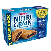 Kellogg's Nutri-Grain, Soft Baked Breakfast Bars, Blueberry, Variety Pack, 16 Ct, 20.8 Oz