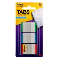 Post-it On-the-Go Tab Dispenser, 1 in., Green, Blue, Red, 12 Tabs per Color