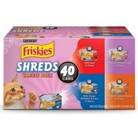 (40 Pack) Friskies Wet Cat Food Variety Pack Shreds Beef Turkey Whitefish and Chicken & Salmon 5.5 oz. Cans