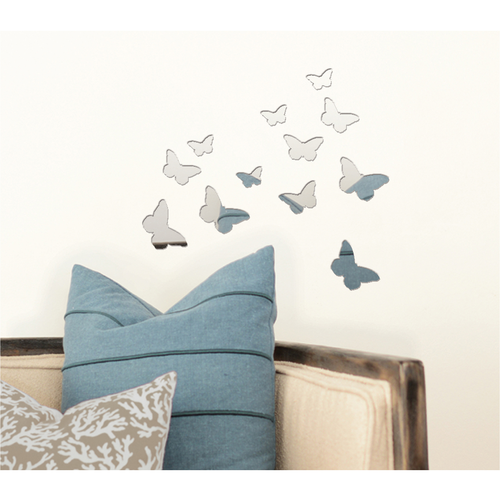 Blue Moon Studio 12 pc Peel and Stick Self-Adhesive Silver Butterfly Wall Mirror Decals