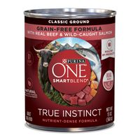 Purina ONE Grain Free, Natural Pate Wet Dog Food, SmartBlend True Instinct With Beef & Wild Caught Salmon