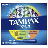 Tampax Pearl Plastic Tampons, Triple-Pack, Regular/Super/Super Plus Absorbency, Unscented, 34 Ct