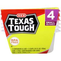 H-E-B Texas Tough Small Rectangle 24 Ounce Food Storage Containers