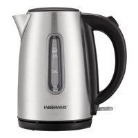 Farberware Stainless Steel 1.7 Liter Electric Tea Kettle, Silver, Cordless