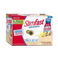 SlimFast Original Ready to Drink Meal Replacement Shakes, French Vanilla, 11 fl. oz., Pack of 8