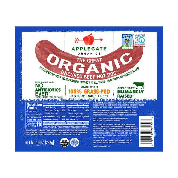 The Great Organic Uncured Beef Hot Dog, 10 oz