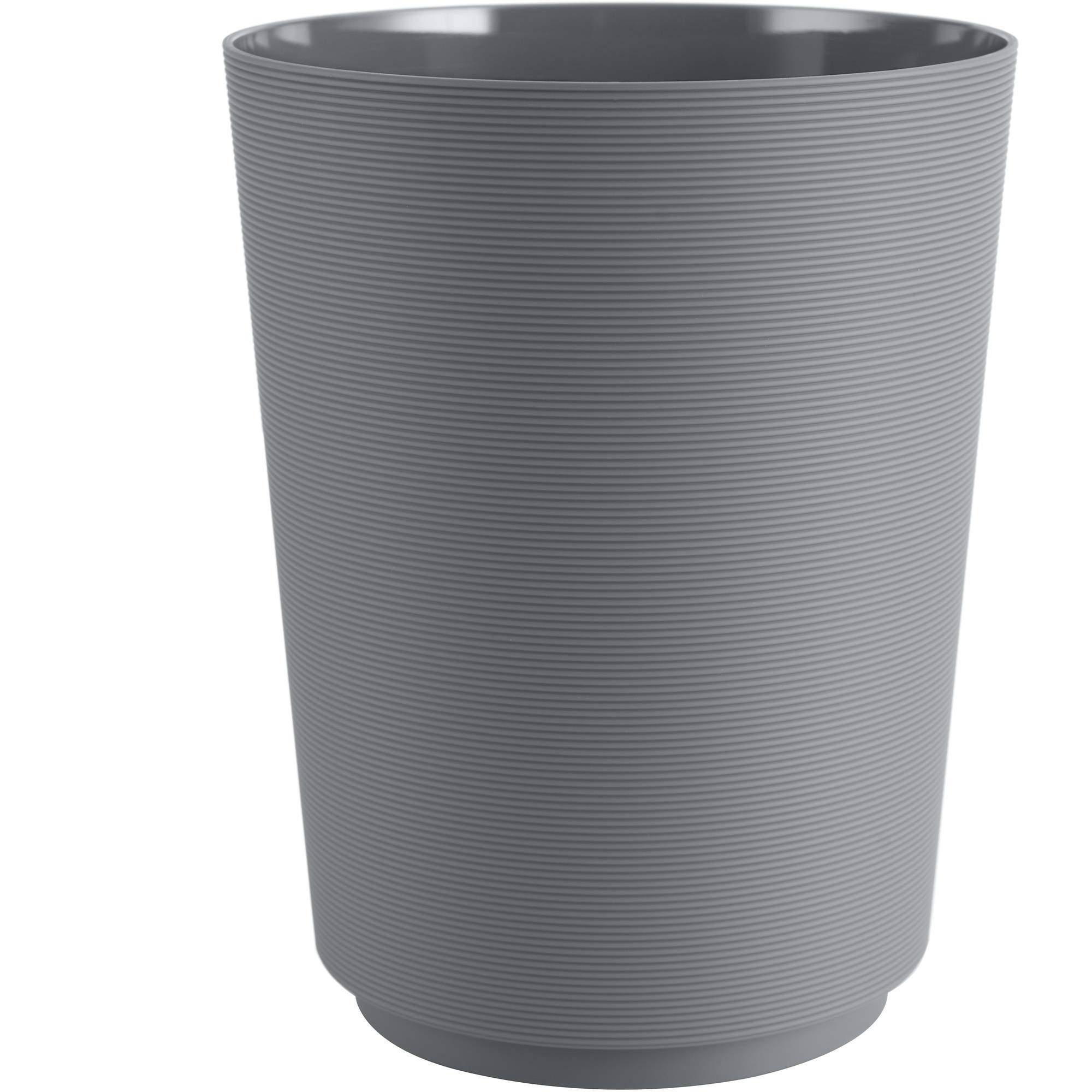 Mainstays Soft Touch Grey Plastic Wastebasket