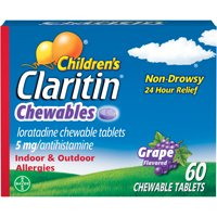 Children's Claritin 24-Hour Non-Drowsy Allergy Grape Chewable Tablet, 60 Count
