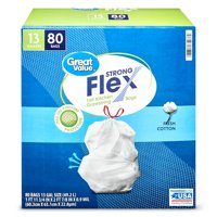 Great Value Strong Flex Tall Kitchen Drawstring Bags, 13 gallon, Fresh Cotton, 80ct