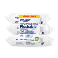 Equate Fragrance Free Flushable Wipes, 144 Count