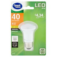 Great Value LED Dimmable R16 (E26) Light Bulb, 4W (40W Equivalent), Soft White