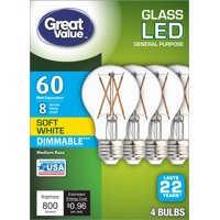 Great Value LED 8W (60W Equivalent) Soft White Color, Clear Bulb, E26 Medium Base, Dimmable, 22 Year Life, 4pk Light Bulbs