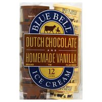 Blue Bell Ice Cream Cups, Dutch Chocolate and Homemade Vanilla Brand Flavored, 12 Cups