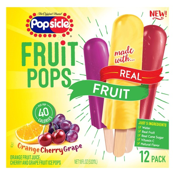 Popsicle Orange Cherry Grape Frozen Fruit Pop - 12ct