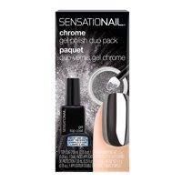 Sensationail Chrome Gel Polish Duo Pack, Top Coat & Silver Gel Powder