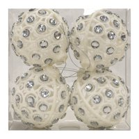 Holiday Time Gem Ornament, White, 4 Count