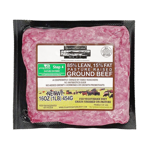 Country naturals Ground Beef 85% Lean/ 15% Fat, 16 oz