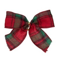 """Northlight Pack of 6 Red and Green Plaid 2 Loop Christmas Bow Decorations 5"""""""