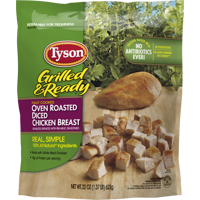 Tyson® Grilled & Ready® Fully Cooked Oven Roasted Diced Chicken Breast, 22 oz. (Frozen)