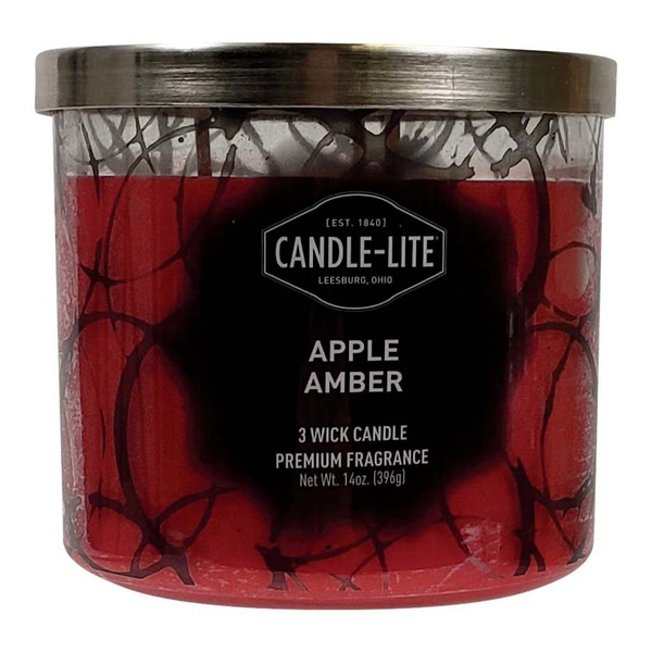 Candle-lite Red Apple Amber 3-Wick Candle