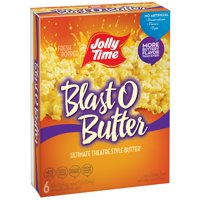 JOLLY TIME Blast O Butter Ultimate Theatre Style Butter Microwave Popcorn, 3.2 Oz., 6 Count