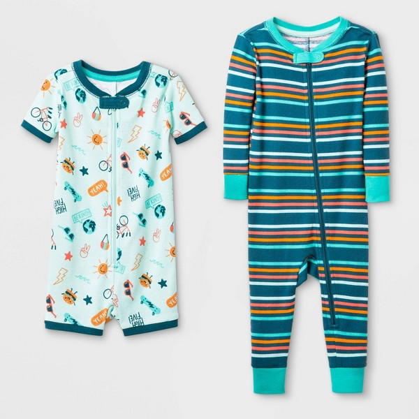 Baby Boys' 2pk 'Cool to be Kind' Doodle 100% Cotton Footed Pajama - Cat & Jack™ Green