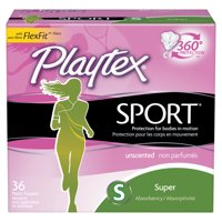Playtex Sport Plastic Tampons, Unscented, Super, 36 Ct