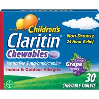 Claritin Allergy Medicine for Kids, Grape Chewable Tablets, 30 Ct