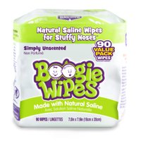 Boogie Wipes, Simply Unscented Saline Baby Wipes, 90 Wipes