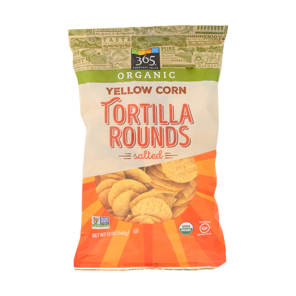 365 everyday value® Organic Yellow Corn Tortilla Rounds Salted, 12 oz